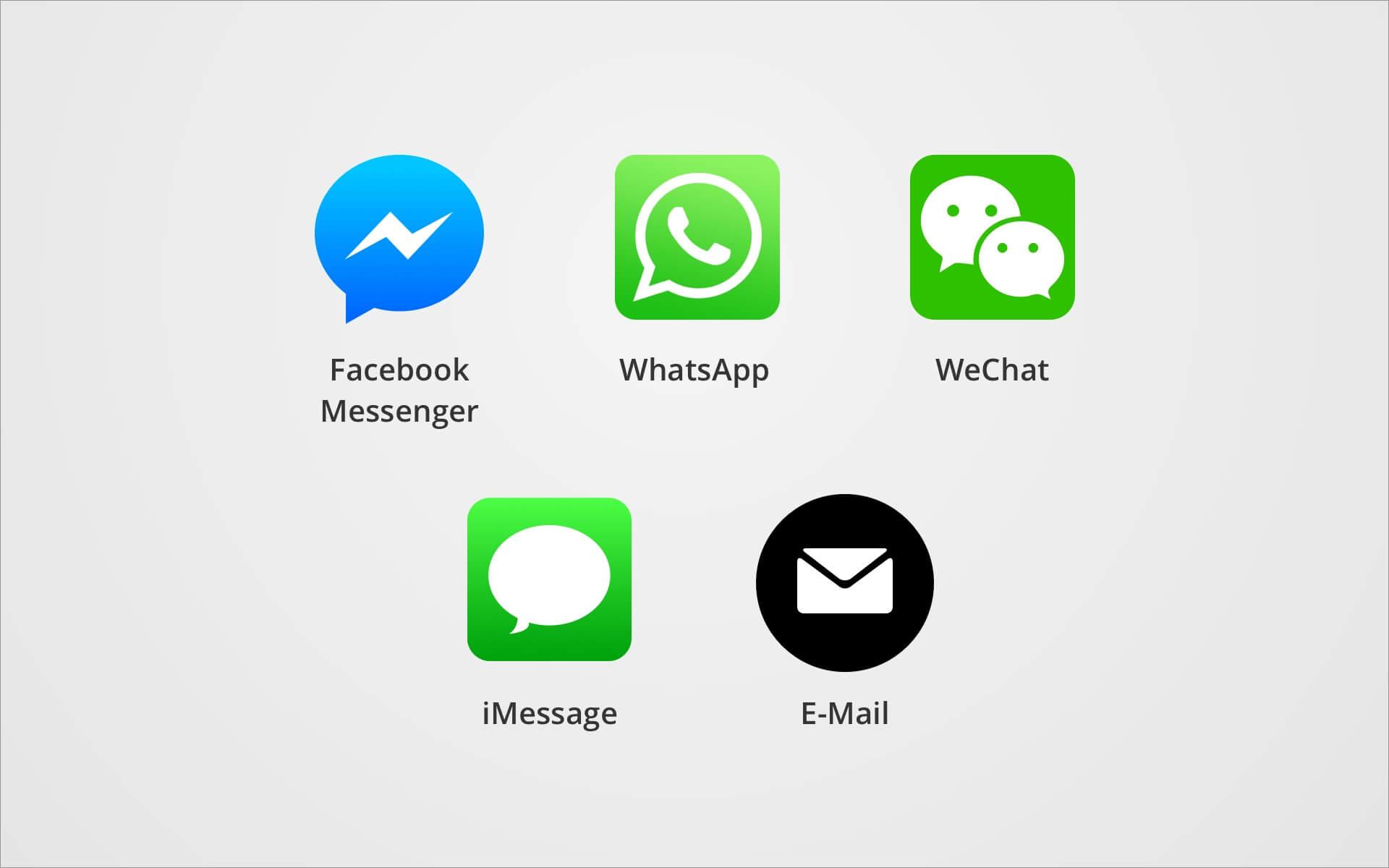 Verschiedene Kommunikationsplattformen
